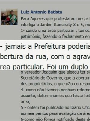 Ex-prefeito usou publicação em rede social para argumentar fechamento da rua (Foto: Reprodução Facebook)