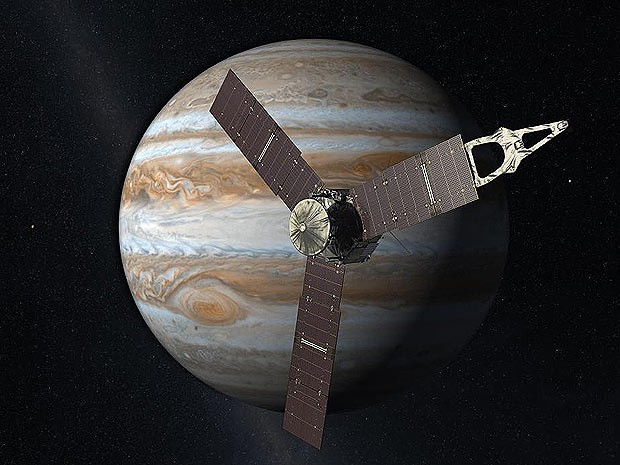Composição artística mostra a sonda espacial em órbita de Júpiter (Foto: NASA/JPL)