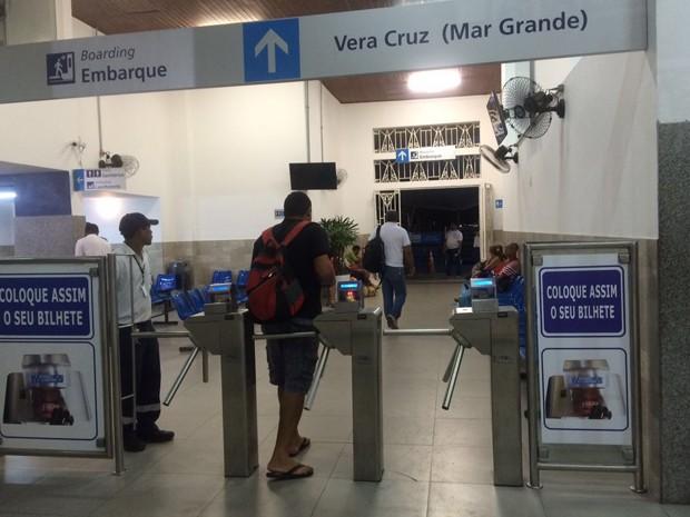 Movimento para a travessia Salvador-Mar Grande é tranquilo nesta quarta-feira (22) (Foto: Alan Tiago Alves/ G1 BA)