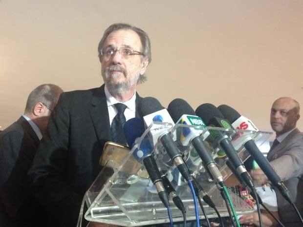 Miguel Rossetto concede entrevista coletiva na Palácio do Planalto (Foto: Filipe Matoso / G1)