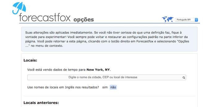 Forecastfox é um plugin de previsão do tempo para Mozilla Firefox (Foto: Reprodução/Marvin Costa)
