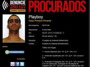 Traficante Playboy, Celso Pinheiro Pimenta, foi morto em operação policial no Rio. A recompensa oferecida por sua captura era de R$ 50 mil (Foto: Reprodução / Disque Denúncia)