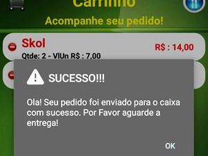 Tela de confirmação de pedido por meio do aplicativo (Foto: Fast Delivery/Divulgação)