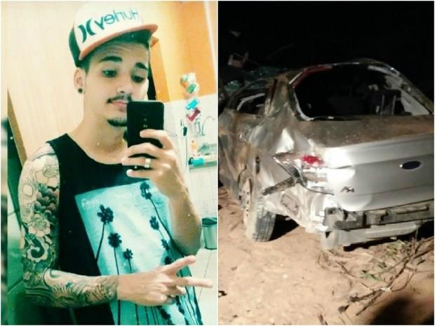 Alef morreu em acidente, em Pancas (Foto: Arquivo Pessoal e  Virgilio Vasconcelos Braga/ VC no ESTV)