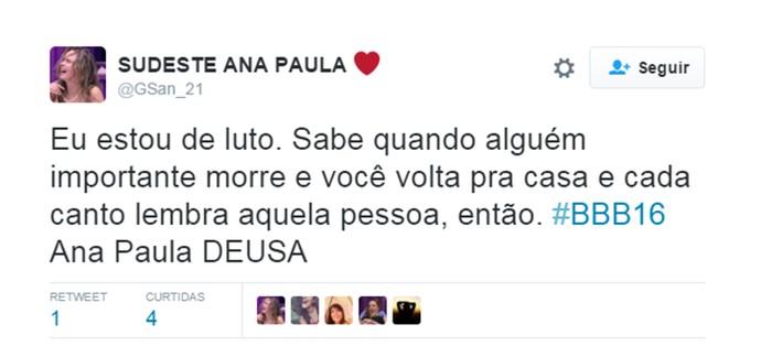 Ana Paula_contra_saída (Foto: Reprodução Internet )