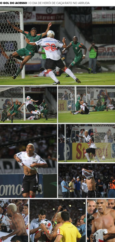 Mosaico : O gol do acesso - O dia de herói de Caça-Rato no Arruda (Foto: Editoria de Arte)