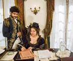 Letícia Colin e Caio Castro gravam a cena de 'Novo Mundo' em que Leopoldina assina o termo de posse como princesa regente do Brasil  | Globo/ João Miguel Júnior