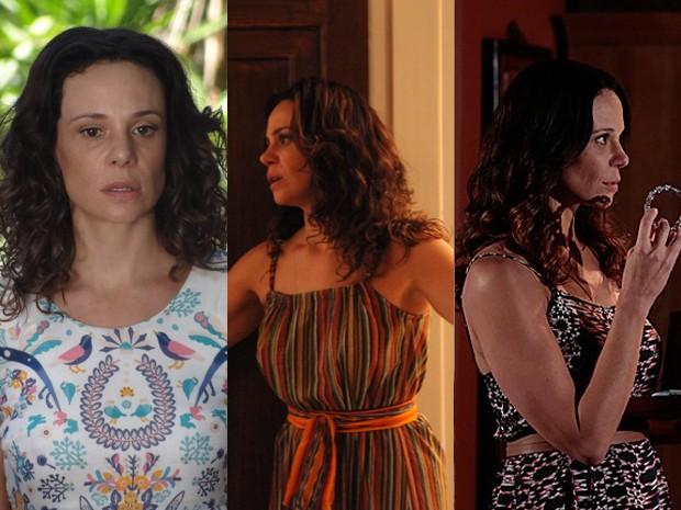 Juliana aposta em várias estampas de longos vestidos (Foto: Em Família;Carol Coimbra e Felipe Monteiro/TVGlobo)