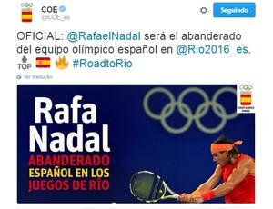 tênis Rafael Nadal porta bandeira rio 2016 (Foto: Reprodução Twitter)