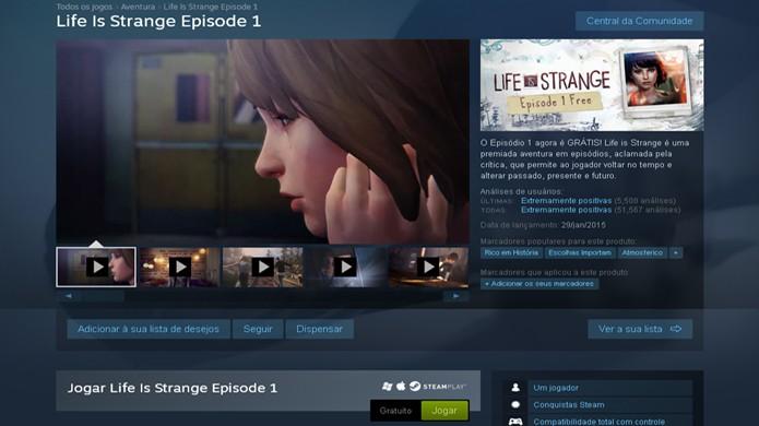 Procure por Life is Strange na loja digital Steam para baixá-lo (Foto: Reprodução/Rafael Monteiro)