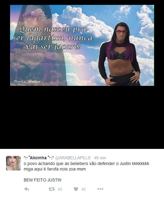 Meme sobre as fotos em que Justin Bieber aparece pelado no Havaí (Foto: Reprodução/Twitter)
