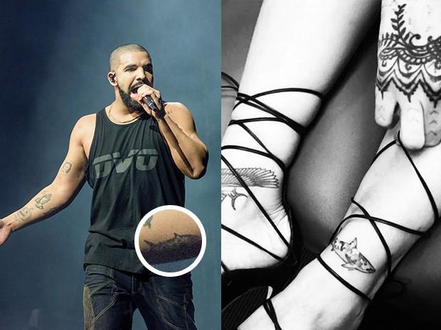 Tatuagens de Drake e Rihanna (Foto: Getty Images | Reprodução/ Instagram)
