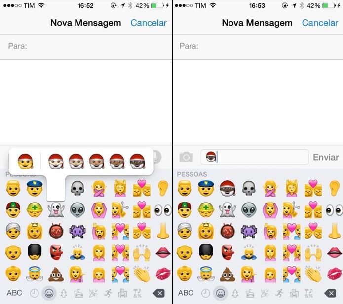 Toque sobre o emoji desejado para alterar a cor da pele (Foto: Reprodução/Helito Bijora)
