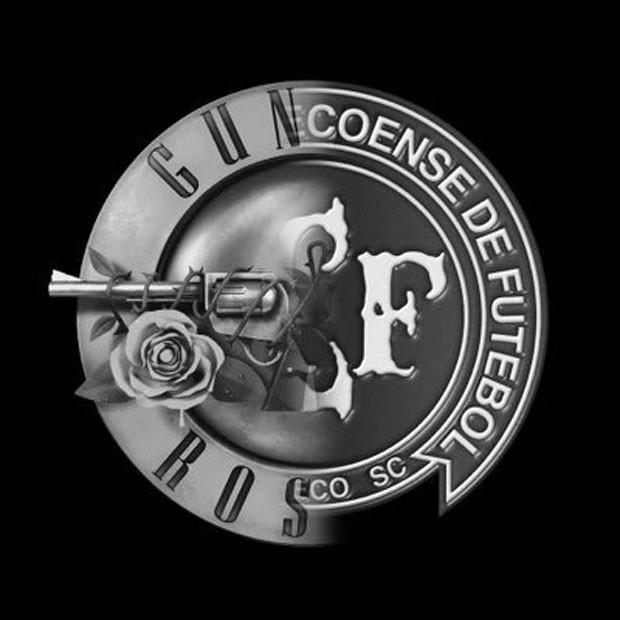 Montagem feita pelo Guns N' Roses para homenagear a Chapecoense; imagem em preto e branco junta o símbolo da banda e o escudo do time brasileiro (Foto: Reprodução/Twitter/gunsnroses)