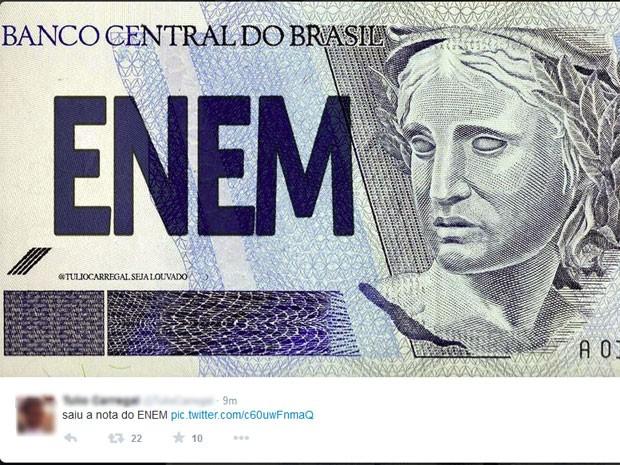 Internauta personificou a nota do Enem (Foto: Reprodução/Twitter)