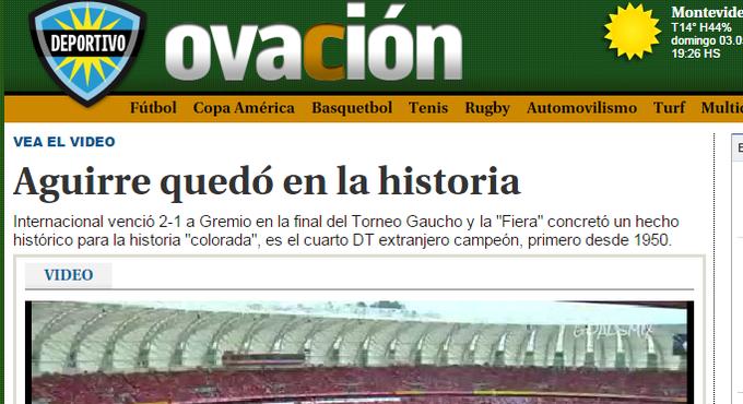 gre-nal 406 grêmio inter internacional final gauchão beira-rio Diego Aguirre imprensa uruguaia (Foto: Reprodução)
