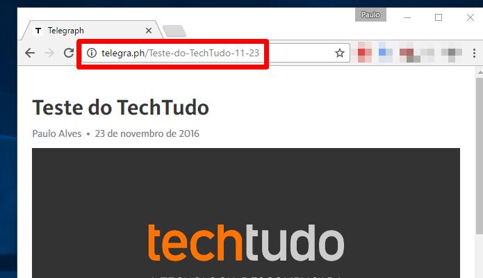 Depois de publicar, copie o link e compartilhe via Telegram (Foto: Reprodução/Paulo Alves)