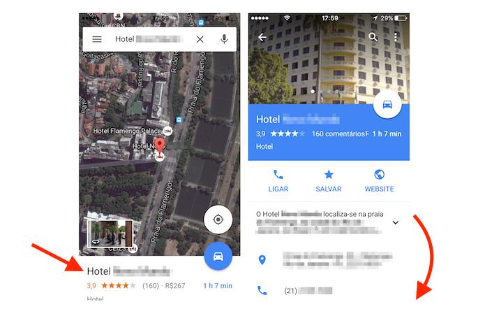 Acesso à página de detalhes de um hotel no aplicativo Google Maps (Foto: Reprodução/Marvin Costa)