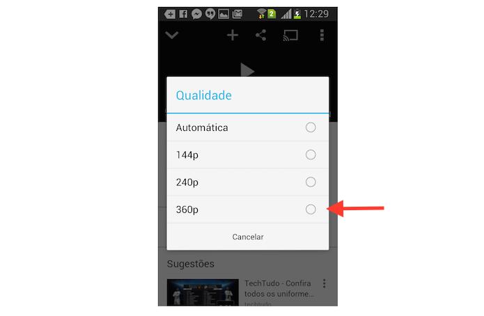 Alterando a qualidade de um vídeo do YouTube através do aplicativo para Android (Foto: Reprodução/Marvin Costa)