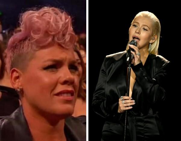 A cantora Pink assistindo à apresentação de Christina Aguilera no 2017 American Music Awards (Foto: Reprodução/Getty Images)