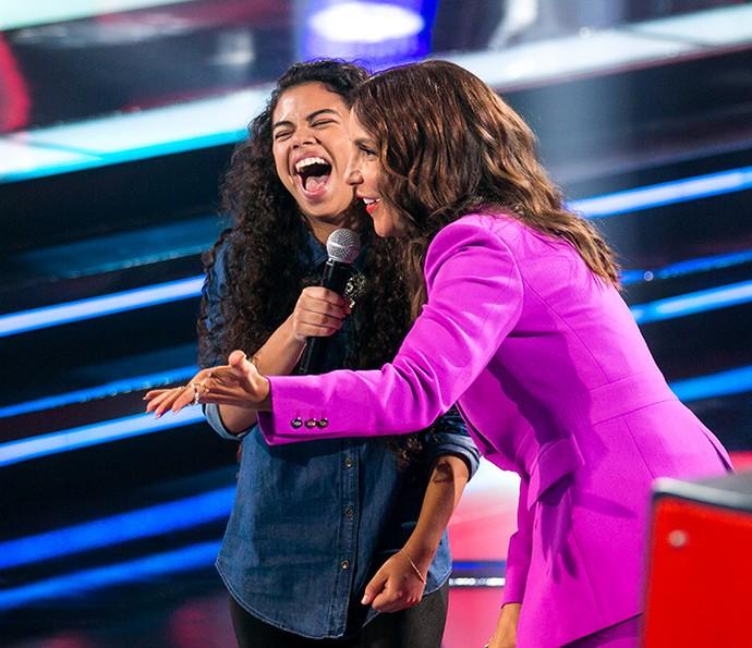 Ivete Sangalo e Nathy são pura afinidade no The Voice Kids (Foto: Isabella Pinheiro/Gshow)