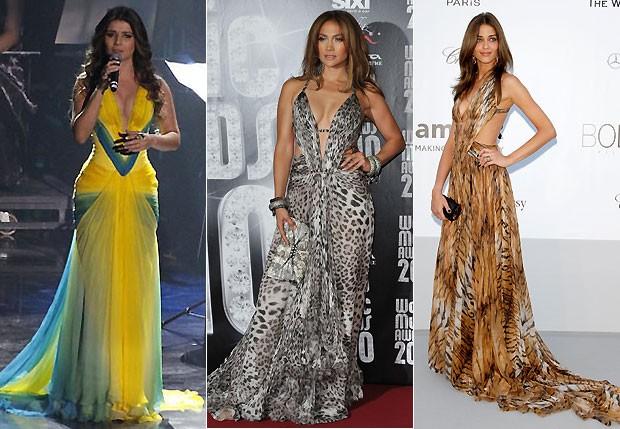 Paula Fernandes, Jennifer Lopez e Ana Beatriz Barros: mesmo vestido, estampas diferentes (Foto: Getty Images)