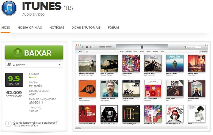 Baixando o iTunes no TechTudo Downloads (Foto: Reprodução/Edivaldo Brito)