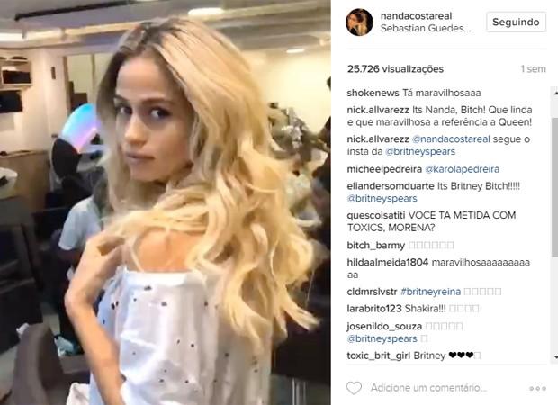 Seguidores comparam Nanda Costa a Shakira e Britney Spears (Foto: Reprodução/Instagram)
