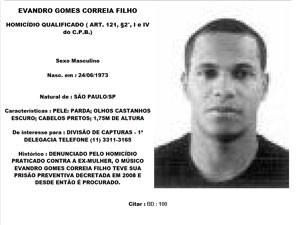 Evandro tem foto e nome na lista dos criminosos mais procurados do site da Polícia Civil de São Paulo (Foto: Reprodução / Polícia Civil)
