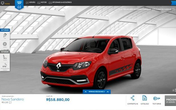 Renault Sandero RS já pode ser configurado no site da marca (Foto: Reprodução)