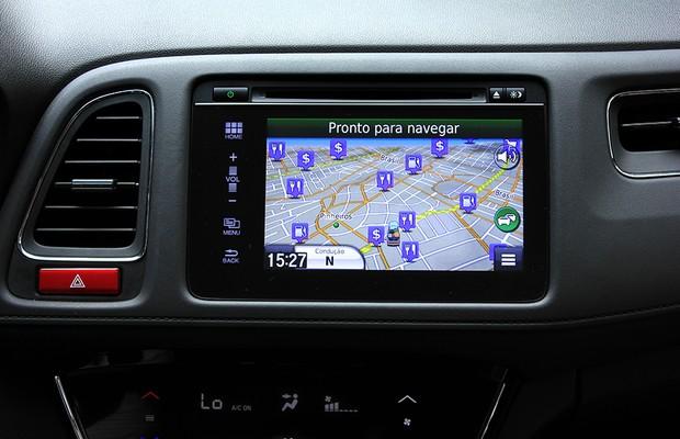 GPS na central multimídia do Honda HR-V (Foto: Gustavo Maffei/Autoesporte)