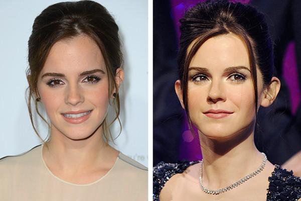 Emma Watson e à direita, a sua estátua de cera (Foto: Getty Images)