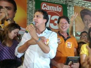 camilo santana fala após a divulgação dos rsultados (Foto: Gabriela Alves/G1)