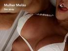 Mulher Melão reforça o bronzeado e provoca seguidores na web: 'Hoje tem'