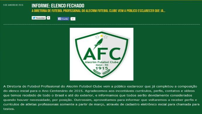 Alecrim - mensagem site oficial (Foto: Reprodução/Alecrim FC)