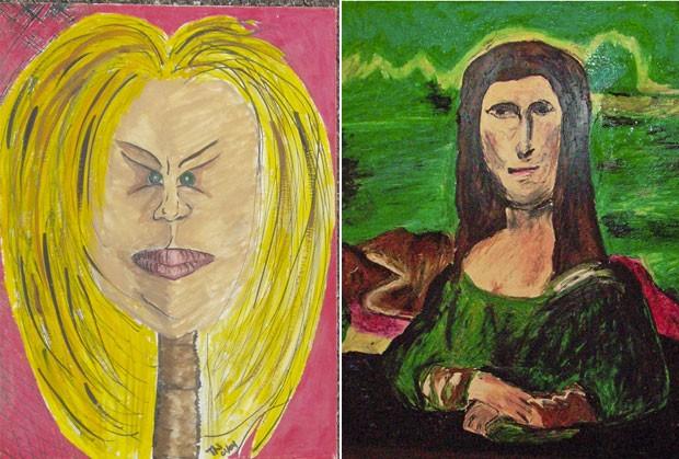 À direita a obra 'Mana Lisa' exposta no museu e  à esquerda a obra Hollywood Lips (Foto: Reprodução/Museum of Bad Art)