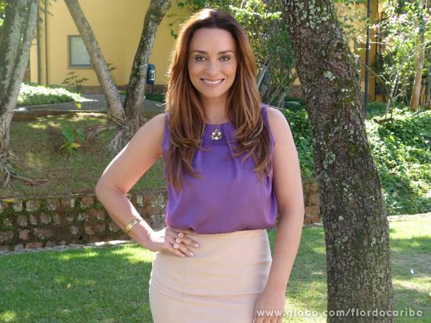 Suzana Pires volta aos estúdios de Flor do Caribe para gravar as cenas de Aurora (Foto: Flor do Caribe/TV Globo)