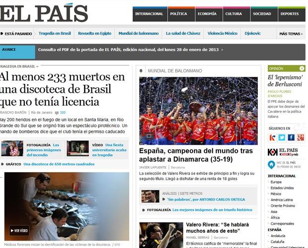 Jornal espanhol destacou 233 mortos no incidente (Foto: Reprodução)