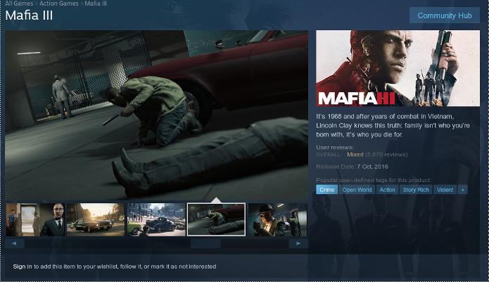 Página de Mafia 3 no Steam (Foto: Reprodução/André Mello)