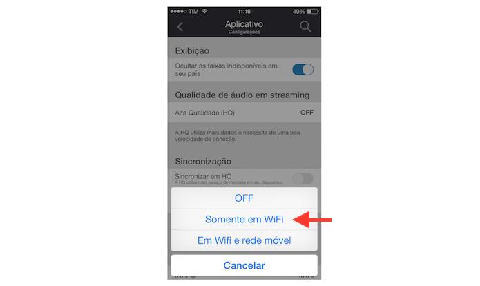Ativando a alta qualidade de áudio no streaming do Deezer para redes Wi-Fi (Foto: Reprodução/Marvin Costa)