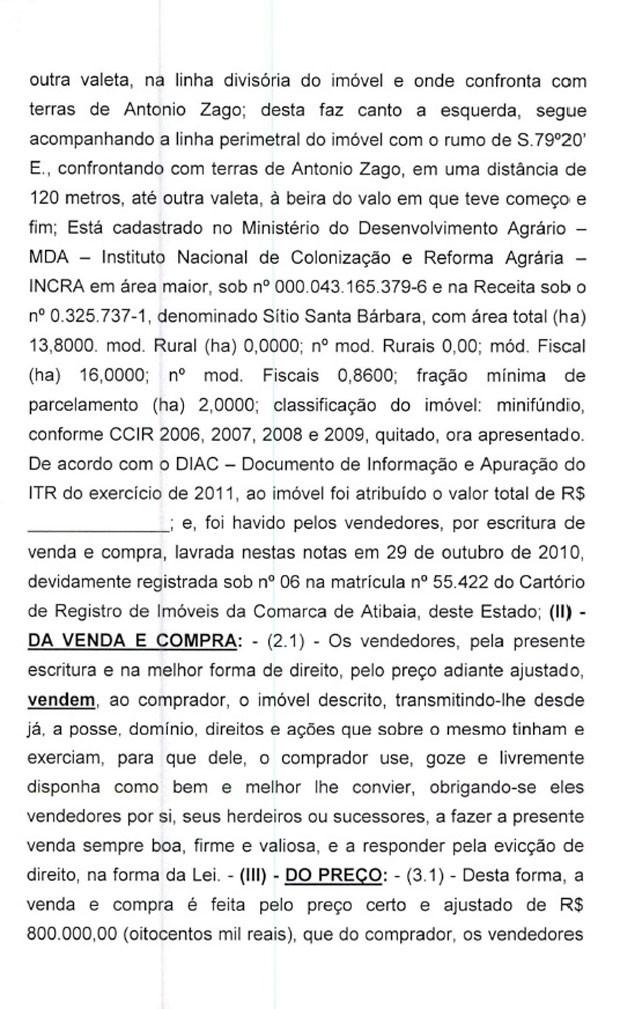 Minuta de contrato de venda do sítio em Atibaia para Lula pag.3 (Foto: Reprodução)