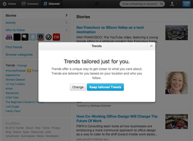Aviso sobre as novas tendências adaptadas do Twitter (Foto: Reprodução)