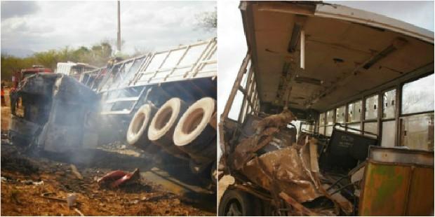 Caminhão ficou em chamas e ônibus teve parte traseira arrancada com impacto (Foto: Gegê Romão/Arquivo Pessoal)