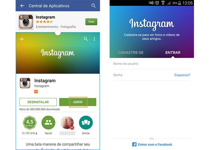 O Instagram será instalado no celular e poderá ser utilizado normalmente (Foto: Reprodução/Barbara Mannara)