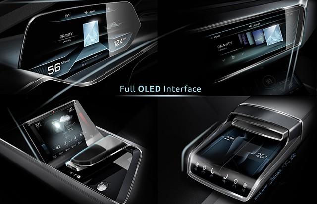 Interior do E-Tron SUV Concept conta com telas de led orgânico por toda a parte (Foto: Divulgação)