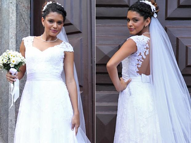 Bom gosto! Gabi mandou muito bem no vestido de noiva (Foto: Fabiano Battaglin / Gshow)