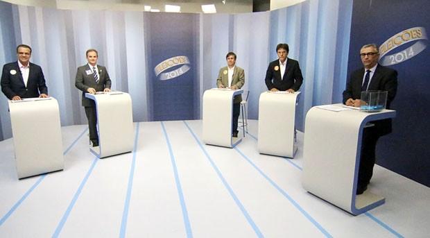 Candidatos ao governo do Rio Grande do Norte participam de debate na Inter TV Cabugi (Foto: Canindé Soares/G1)