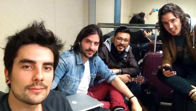 Leo e os companheiros da Pagan John: Gustavo, Maurício e João (Foto: Arquivo pessoal)