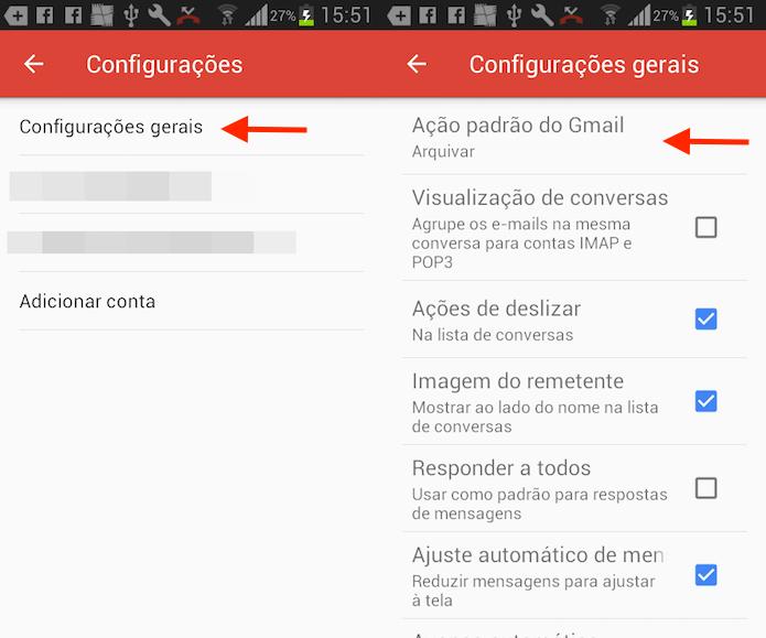 Caminho para acessar as configurações de deslizar com os dedos no Gmail para Android (Foto: Reprodução/Marvin Costa)