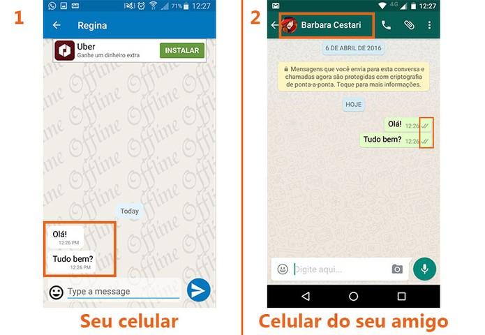 Confira como vai ficar o seu celular (à esquerda) com as mensagens recebidas e o celular do seu amigo (à direita) com você oculto (Foto: Reprodução/Barbara Mannara)
